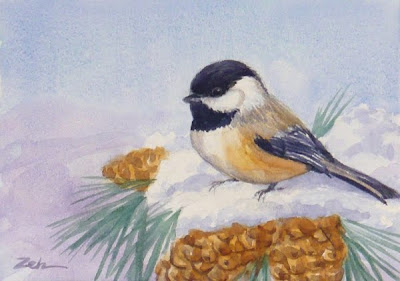 Black-capped Chickadee watercolor painting