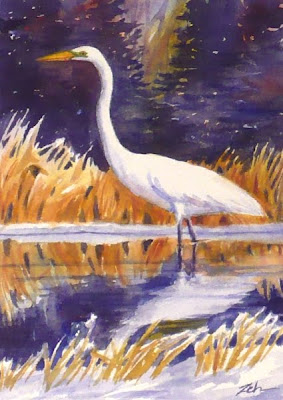 Great Egret in Winter watercolor painting