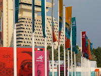 Flags by the Sheraton Hotel on Doha's Corniche
