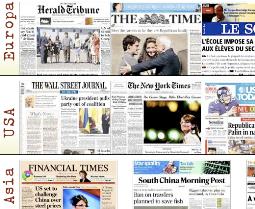 Kiosko de periódicos. Diarios de todo el mundo