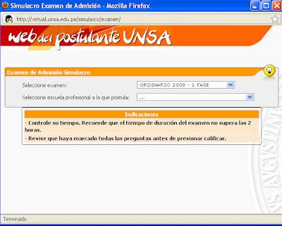 SIMULACRO ONLINE  - UNSA Simulacro+unsa