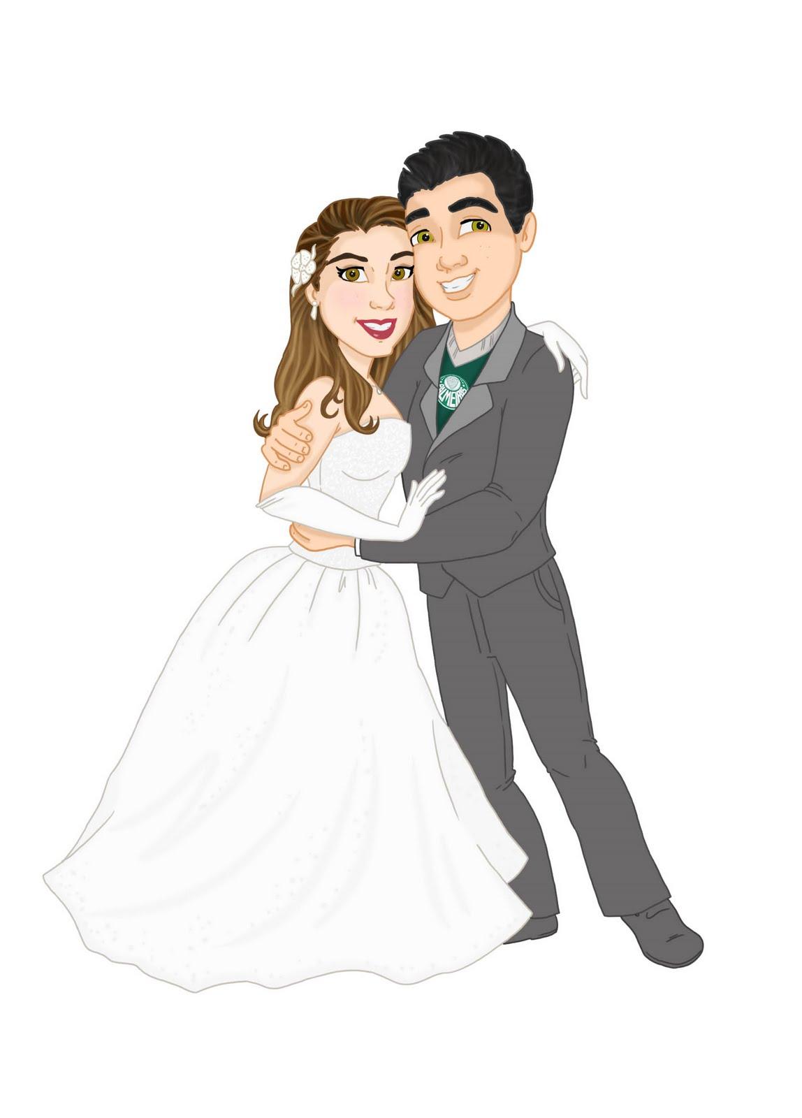 Arte Para Convite De Casamento   Os Noivos Em Cartoon