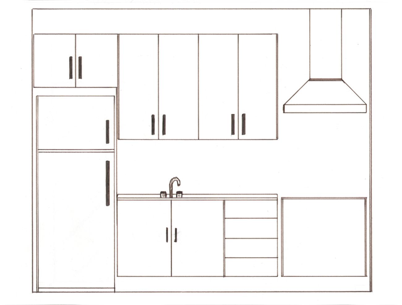 #433934  Projetos de Interiores e Maquetes 3D: Desenho de elevação da cozinha 1300x987 px Desenhos De Projetos De Cozinhas Planejadas_3369 Imagens
