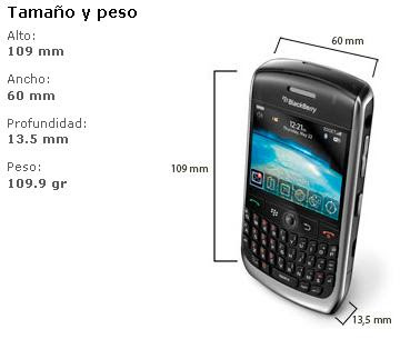 Dimensiones de Blackberry 8900