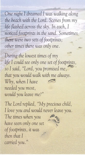 Heather gurley quot footprints in the sand quot poem
