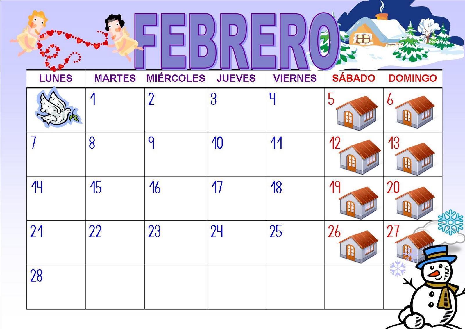Calendar Q : El baÚl de las sorpresas calendario del mes febrero