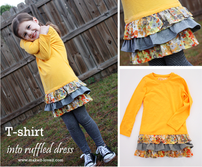 Re purposing long sleeved tee into ruffled dress make for How to put a picture on a shirt diy