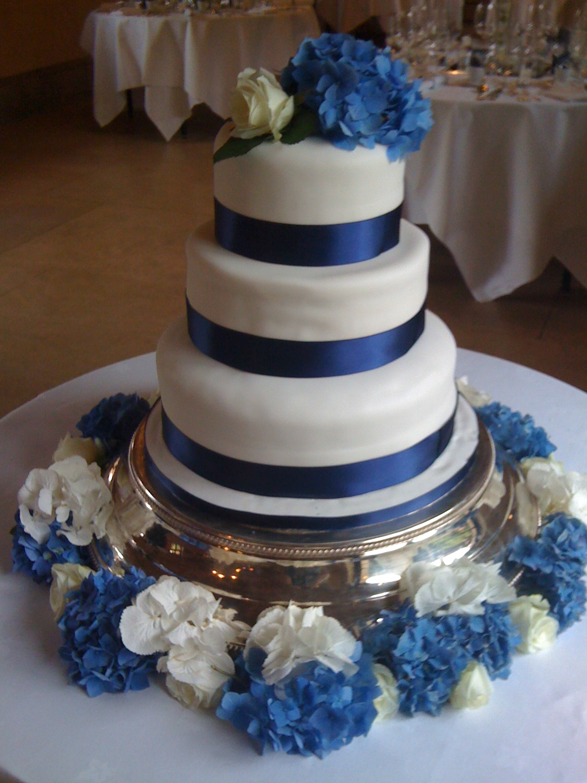 Navy Blue Ribbon Wedding Cake
