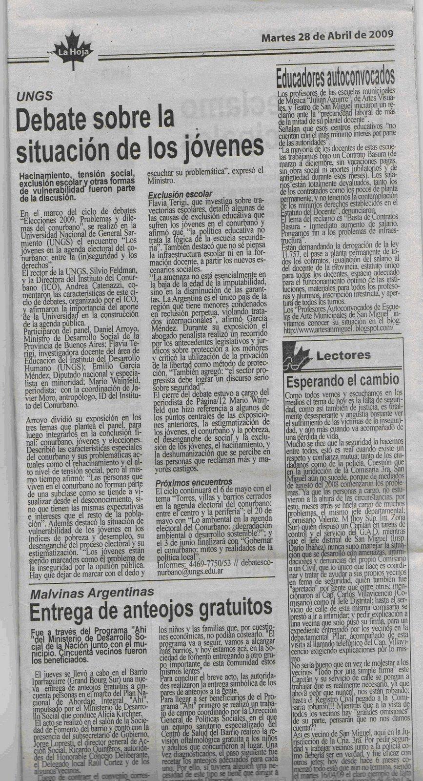 Artículo 28/04, La Hoja