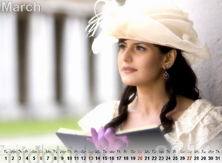 zarine khan pics 2011. Zarine Khan Calendar 2011: New Year Calendar 2011, Bollywood Actress Desktop