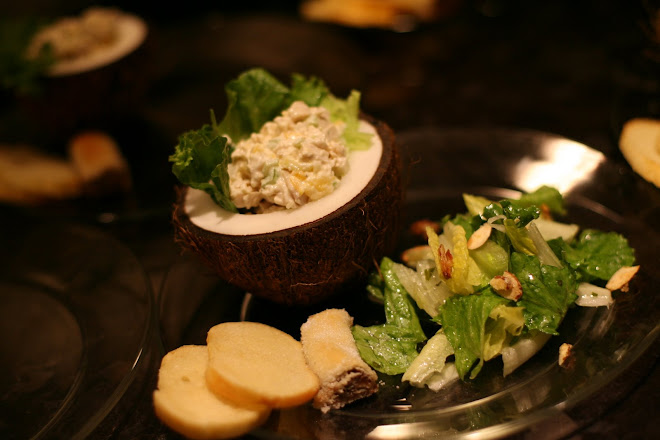Chicken salad in a coconut