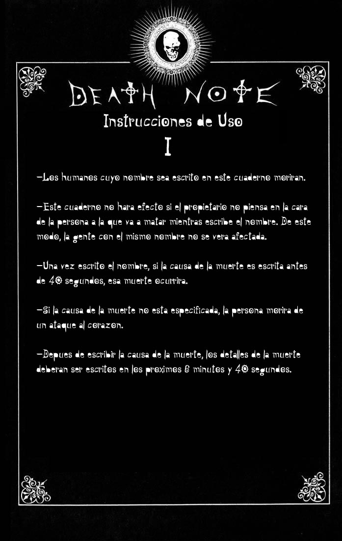 "Death Note Instrucciones de Uso ""Spanish"""