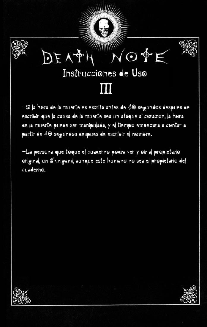 """Death Note Instrucciones de Uso """"Spanish"""""""