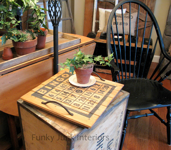 Make this vintage BINGO card styled reclaimed wood stenciled tray