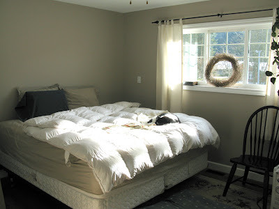 bedroom before / White Trash Bedroom reveal with old door and gate headboard, via FunkyJunkInteriors.net