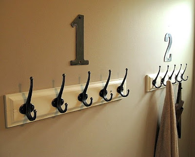 wall hooks with numbers / before via FunkyJunkInteriors.net