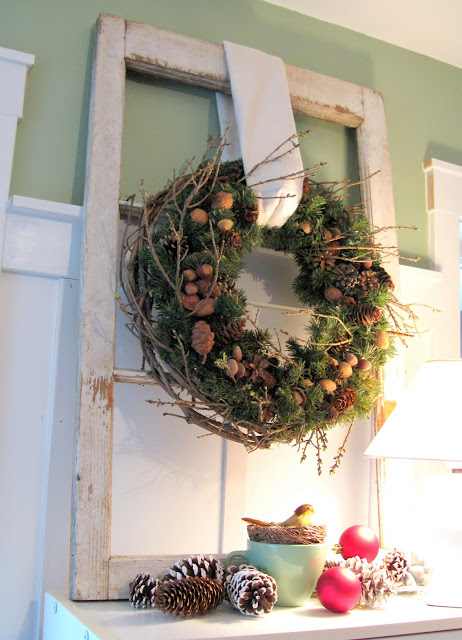 old window, hanger, wreath