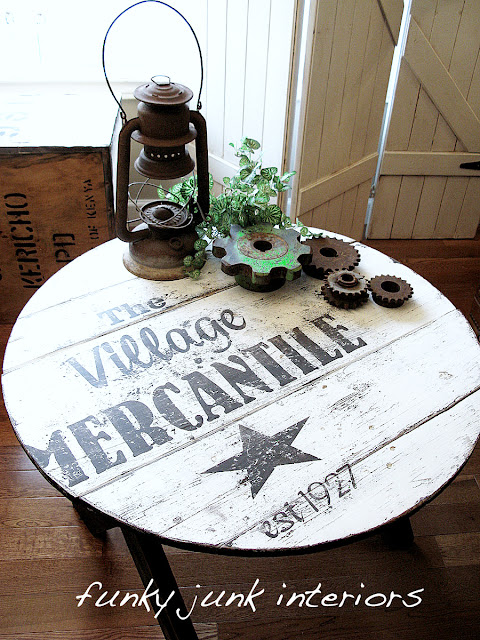 The Village Mercantile old sign table, by funkyjunkinteriors.net