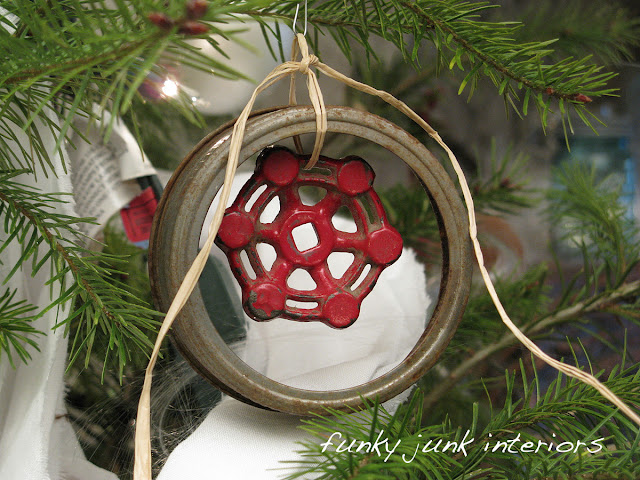 Canning jar lid and vintage tap handle ornaments