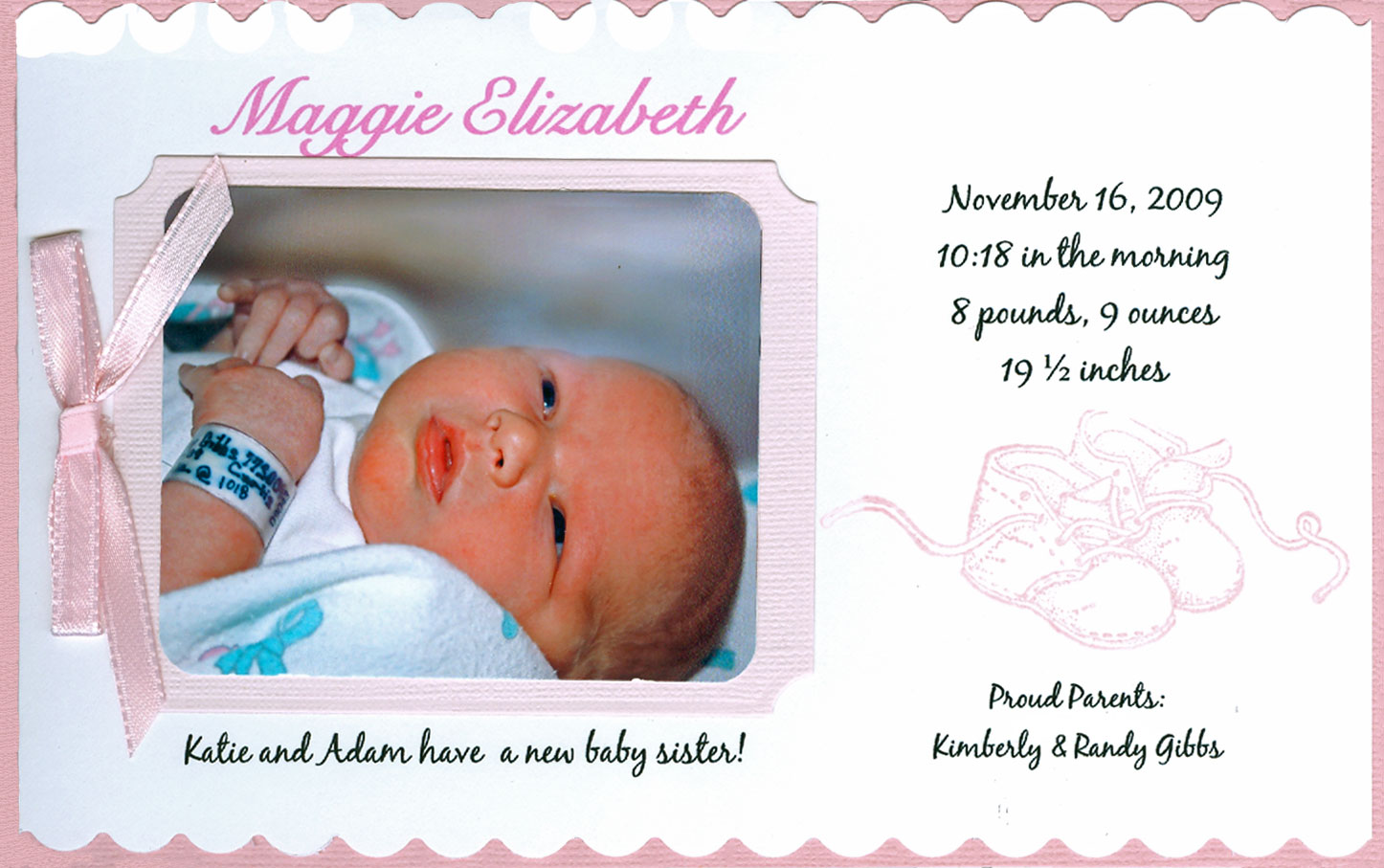 Susan Goetter Introducing MAGGIE ELIZABETH – Hospital Birth Announcements