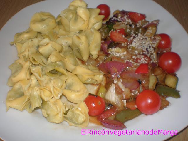 Tortellinis De Espinacas Con Verduras Salteadas