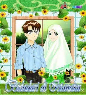 Kartun Cinta Islami Cewek Berjillbab KArtu ucapan pernikahan