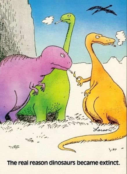 """why dinosaurs became extinct """"the dinosaurs became extinct because they didn't have a space program and if  we become extinct because we don't have a space program, it'll serve us right."""