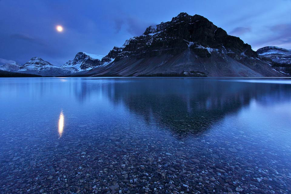 Alberta, Canada - Moon Over Crowfoot Mountain