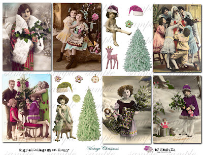 vintage christmas children images. 177 Vintage Christmas Digital Collage Sheet