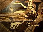 """""""DIALOGO CON TARTARUGA"""" anno 2008 tecnica: pirografia su legno cm. 50 x 70"""