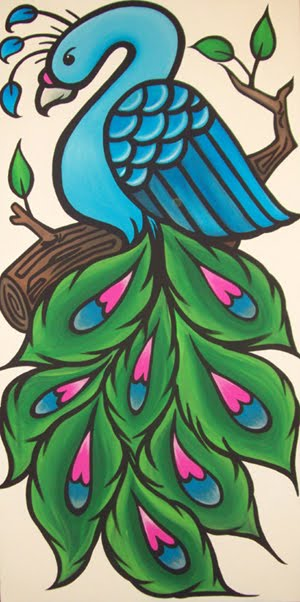 Simple colorful peacock drawing - photo#11
