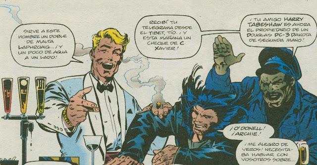 Wolverine sujetando la barra del bar