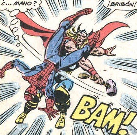 el pesado de Spiderman cayendo sobre Thor