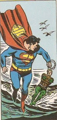 Superman & Aquaman haciendo esquí acuático
