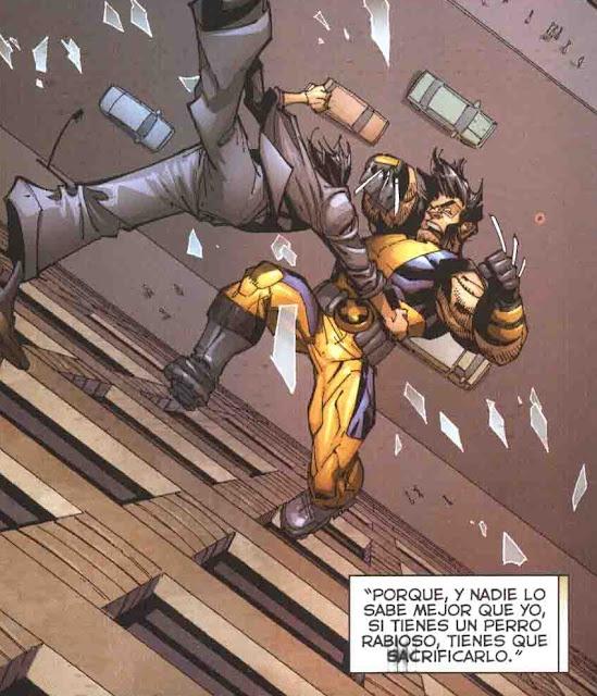 Wolverine saliendo por la ventana