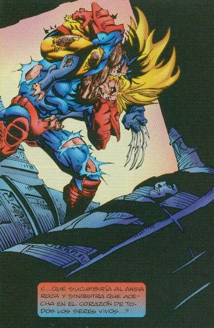 Wolverine apretándole el gaznate a uno