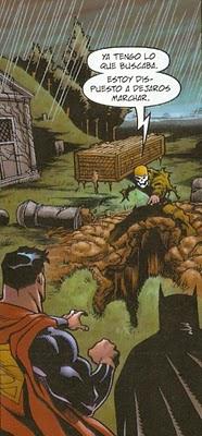 Bataman y Superman haciendo guardia en el cementerio