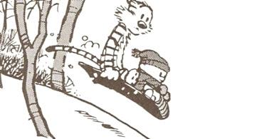 Calvin deslizándose en el bosque