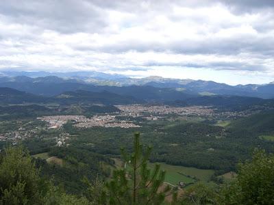 Aerial view of Olot and La Vall de'n Bas in La Garrotxa