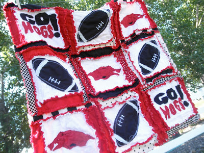 arkansas razorback blanket rag quilt applique