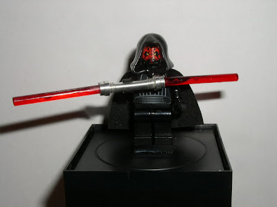 Custom LEGO Star Wars Darth Maul's Lightsaber - front view (activated)