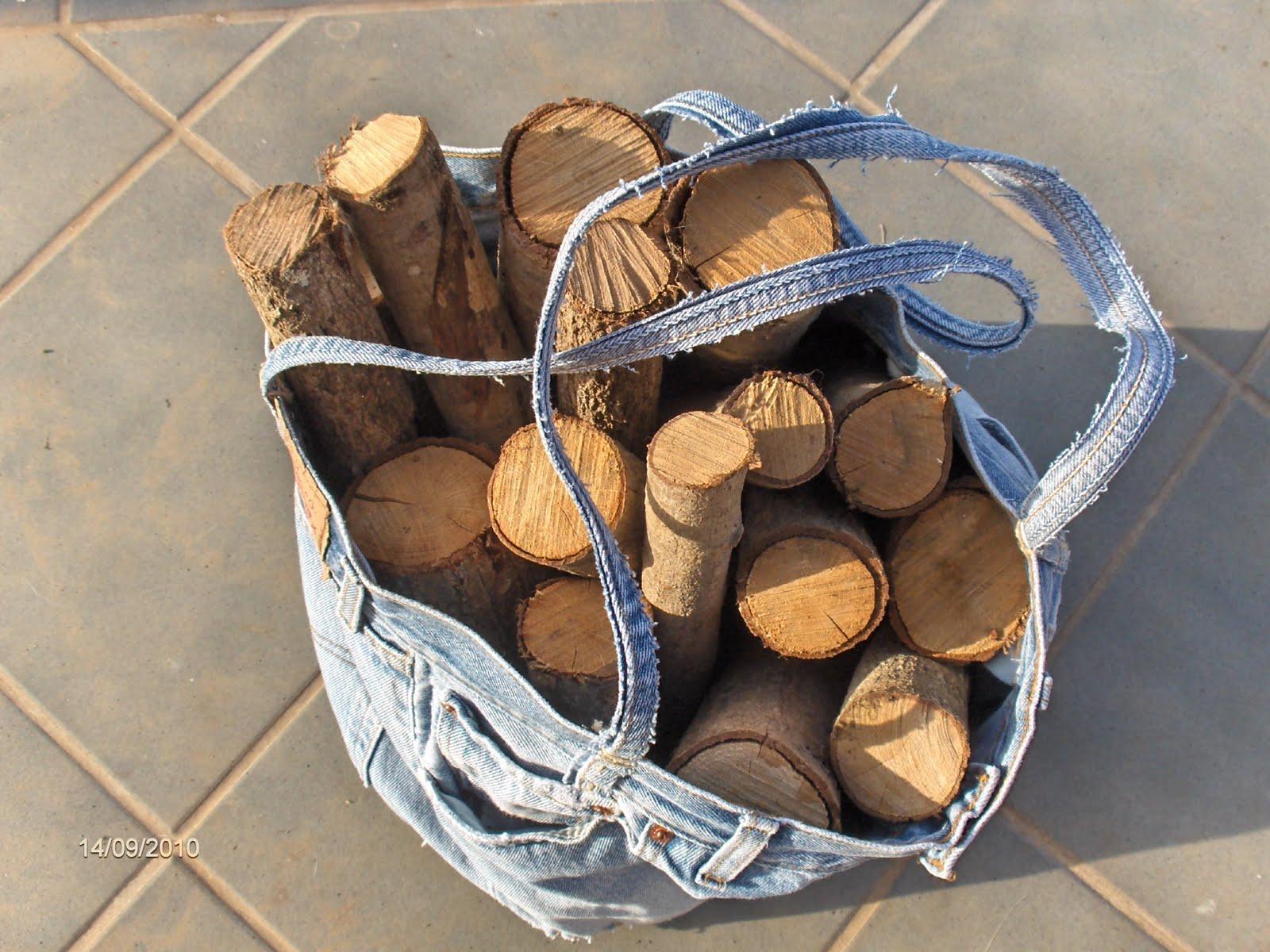 Aprendiz cesta para le a hecha con pantal n vaquero for Cestas para lena