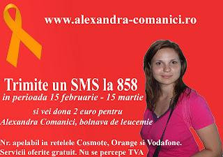 Ajut-o pe Alexandra, un simplu sms de 2 euro poate schimba viata Alexandrei