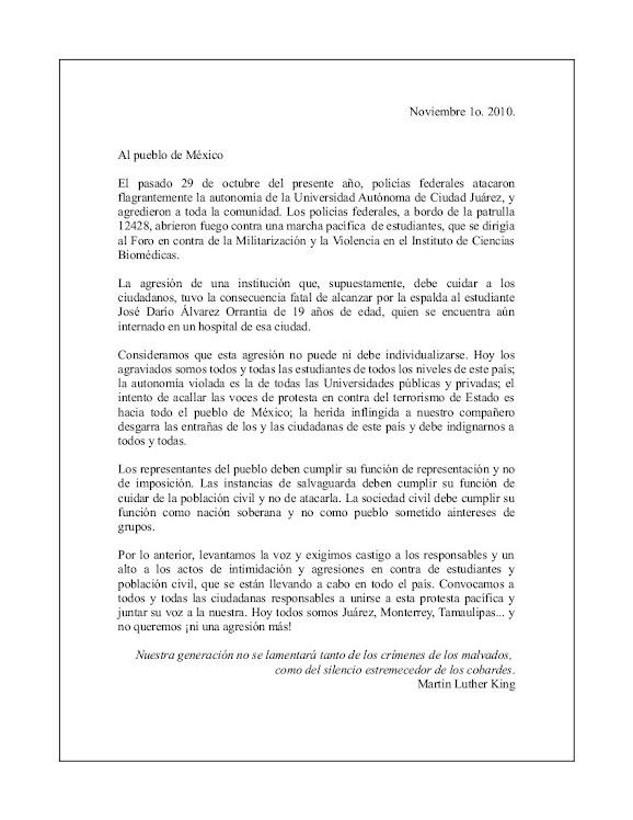 Carta de rechazo por los sucesos ocurridos el 29 de octubre en Cd. Juárez