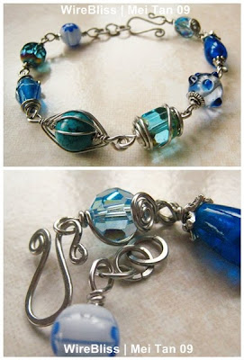 wireblissmei wire wrapped bracelet feel the blue