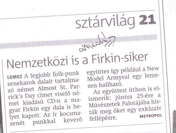 Firkin a Metropol újságban