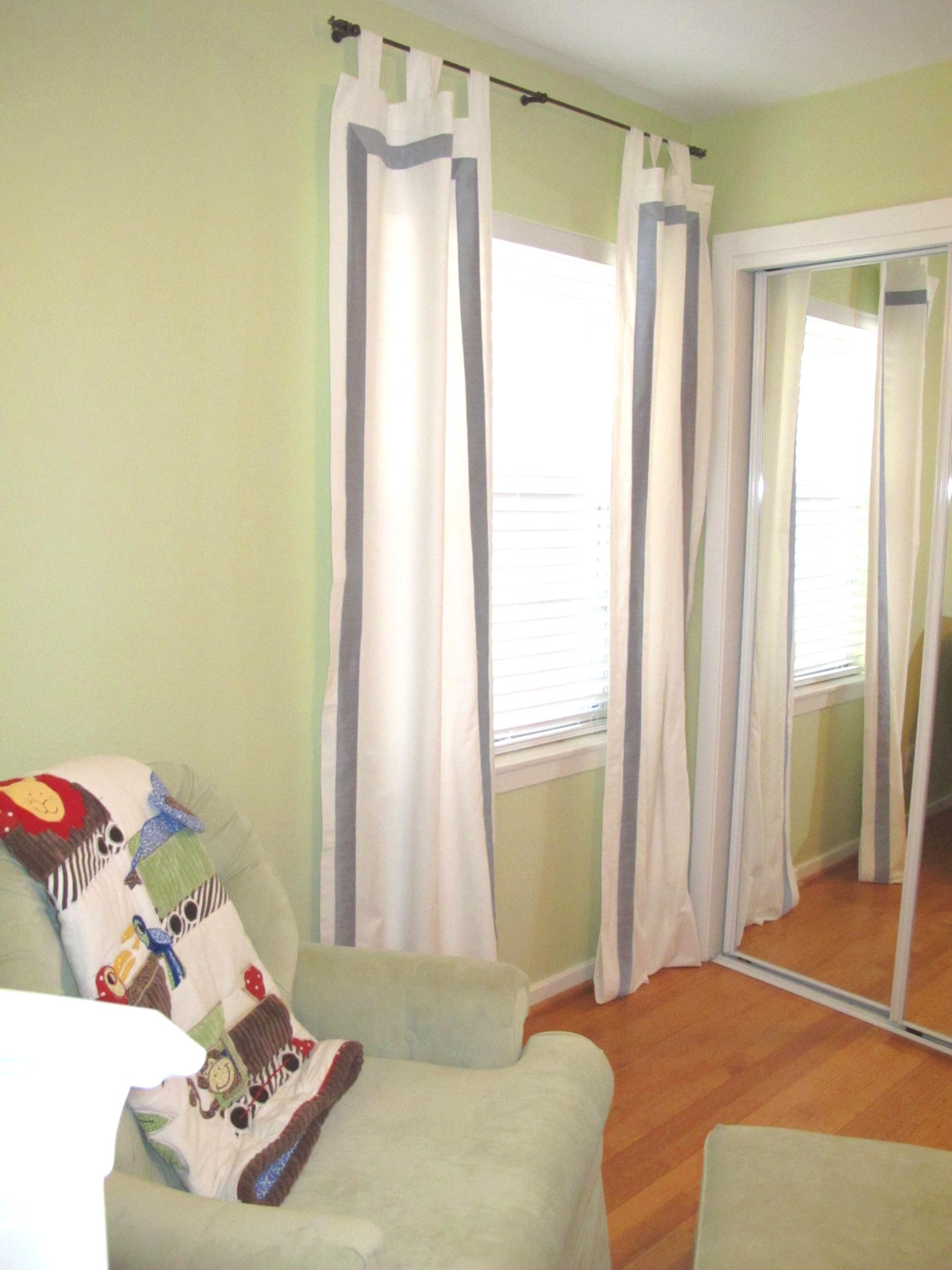 Blue Curtains with White Trim
