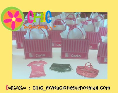 "15 AOS : Invitaciones tipo Liverpool ""Shopping Bag"""