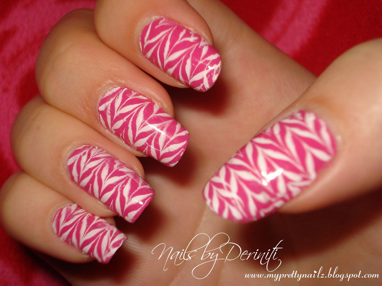 My Pretty Nailz: Zig Zag Nail Art - Konad Nail Art, Pink and White ...