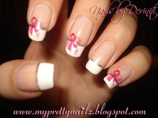 Breast Cancer Awareness French Tips, Breast Cancer Awareness Nail Art